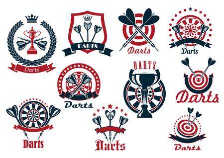 iconos retro del club de dardos juego de dardos y flechas con las tazas del trofeo, coronado por el escudo y la corona, decoradas por las estrellas y las banderas de la cinta Ilustración de vector