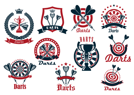 Darts club retro icons of dartboards and arrows with trophy cups, crowned by shield and wreath, decorated by stars and ribbon banners