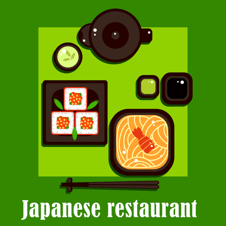 broth: Japanese traditional cuisine with top view of noodles in broth with shrimp, maki sushi with red caviar, teapot and cup with green tea, wasabi and soy sauces, chopsticks. For restaurant ot cafe seafood menu theme Illustration