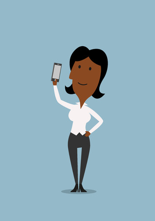american media: Happy african american businesswoman posing for selfie portrait with smartphone in hand, for technology or social media theme design Illustration