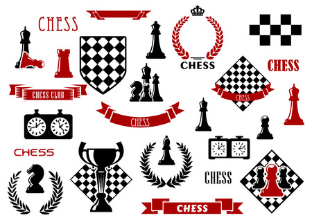 Chess game items and heraldic elements with chessboard, queen, king, bishop, knight, rook and pawn, clock, trophy, checkered shield, wreath, ribbon banner and crown Illustration