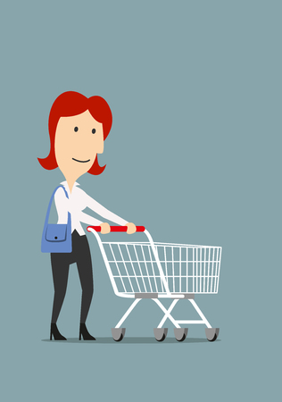 cart: Joyful redhead businesswoman with handbag pushing shopping cart for shopping. Cartoon style