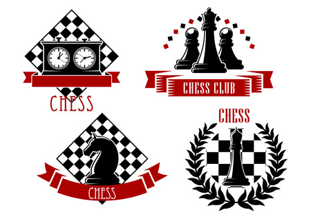 queen of clubs: Chess game sport emblems and icons with chessboard, clock, king, queen, knight and pawn, decorated by laurel wreath and ribbon banners Illustration