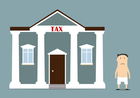 penniless: Cartoon depressed businessman was left without anything after taxes. For bankruptcy and tax problem concept design