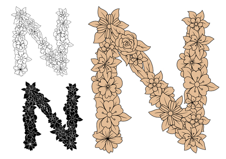 lush foliage: Floral letter N in uppercase font with brown vintage flowers and lush foliage with outline colorless and black variations Illustration