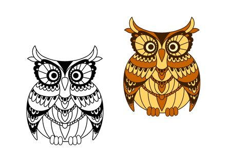colorless: Cartoon brown and yellow owl bird with pattern of mottled feathers around eyes and wings, second variant with colorless outline variation