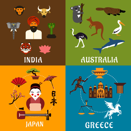 traditions: Culture, history, landmarks and nature of India, Greece, Japan and Australia. Flat travel icons with native and sacred animals, ancient architecture, mythology and traditions