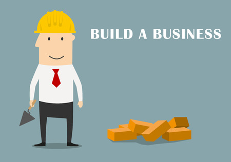 building bricks: Cartoon successful businessman in yellow hard hat with trowel and bricks building a new business, for start-up theme design Illustration