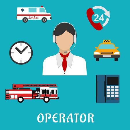 ambulancia: Operador del centro de llamadas o iconos planos profesión Dispatcher con la mujer, auriculares y pañuelo para el cuello, rodeado por teléfono con el signo de apoyo las 24 horas, reloj, teléfono, coche de bomberos, ambulancias y coches de taxi
