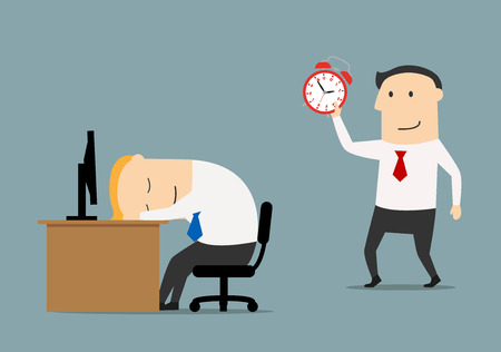 sleeping at desk: Smiling businessman or manager sneaks to sleeping colleague to wake with alarm clock, for overworked or joke concept. Flat style Illustration
