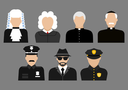 security uniform: Profession flat avatars or icons with judges in wig and gown, priests, policeman officers in uniform and detective in hat and coat Illustration