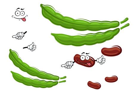 ejotes: Secos marrón de dibujos animados divertidos personajes frijoles vegetales con las vainas verdes frescas, para la agricultura o el diseño de la comida sana vegetariana Vectores