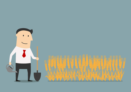 dividends: Businessman cares about invested money to new project with watering can and shovel, for investment strategy or dividends theme concept Illustration