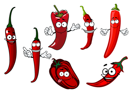 caricatura mexicana: chiles picantes y dulces jugosos pimientos picantes verduras personajes de dibujos animados de color rojo con las caras sonrientes felices, por la especia saludable o el tema de la agricultura