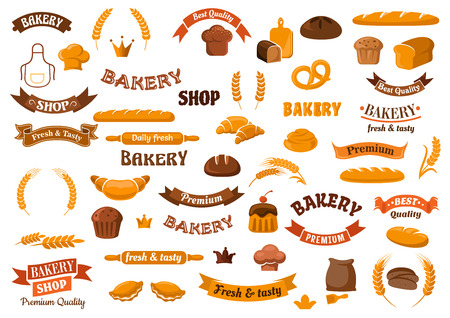 Bakery and pastry design elements for emblems templates with loaves of rye and wheat bread, cupcakes, buns, croissants, pretzel, baguettes, baker hats, flour, rolling pins, ears and ribbon banners