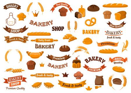 panadero: elementos de panadería y pastelería de diseño para las plantillas de emblemas con panes de centeno y trigo pan, magdalenas, bollos, croissants, pretzel, baguettes, sombreros panadero, harina, los contactos de balanceo, orejas y banderas de la cinta Vectores