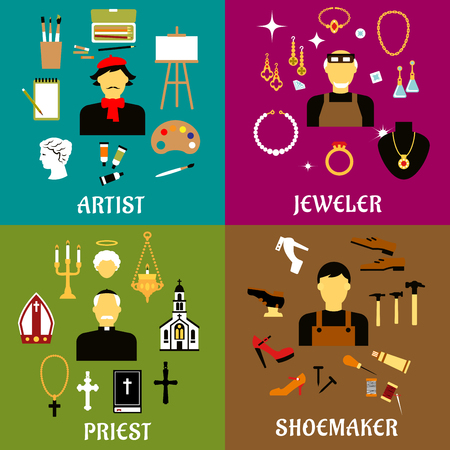 art and craft equipment: Jeweler, shoemaker, artist and priest profession flat icons set with men in professional uniforms with tools, religion, art and craft symbols