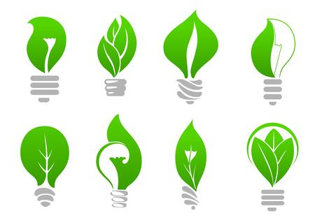 ahorro energia: Iconos de bombillas de energía verde ecológico de lámparas estilizadas con hojas frescas en el interior, para el diseño de la ecología o la energía de ahorro de temas