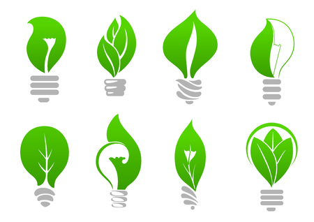 Green energy eco light bulbs icons of stylized lamps with fresh leaves inside, for ecology or energy saving themes design