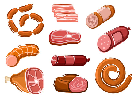 Tasty spicy salami, pepperoni, bologna and smoked pork sausages, bacon slices, ham, roast beef and raw beef steak in cartoon style, for butcher shop design