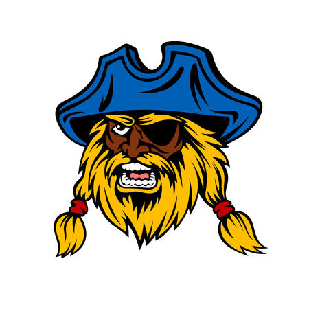 sea robber: Shouting cartoon african pirate head with long hair and lush beard, wearing captain hat and eye