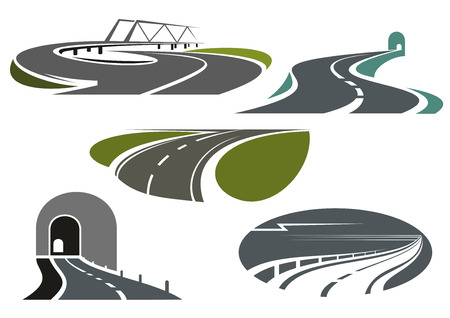 Mountain tunnels, highways, overpass road with bridge and winding bypass rural roads. Icons for travel or transportation themes