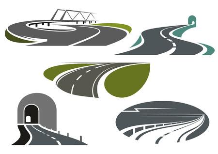tunel: Túneles de montaña, autopistas, carreteras puente con el puente y serpenteantes caminos rurales de bypass. Los iconos para los temas de viaje o de transporte Vectores