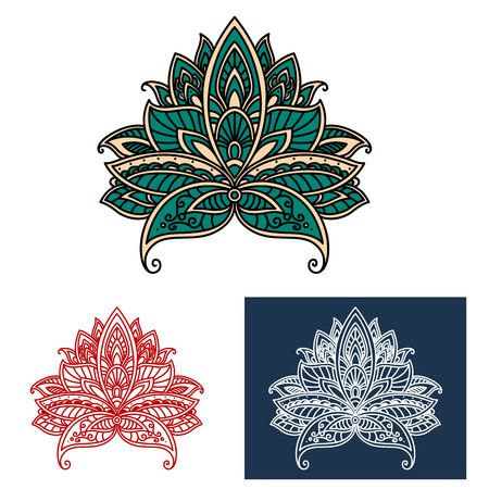 Lush blooming green paisley flower with openwork ornamental petals in ethnic turkish style, for oriental interior or textile design