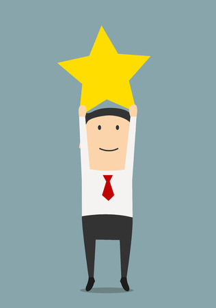 reaching up: Cheerful businessman reaching up to get a golden star trophy, for goal achievement or award concept. Cartoon style
