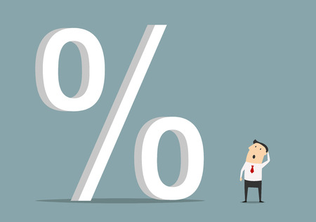 Bemused businessman looking up at big percent symbol, for high cost credit or rising interest rate Stock Illustratie