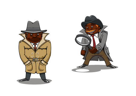 investigate: Funny smiling and serious black detectives or spy cartoon characters, one of them with magnifier in hand. For profession or investigation concept theme
