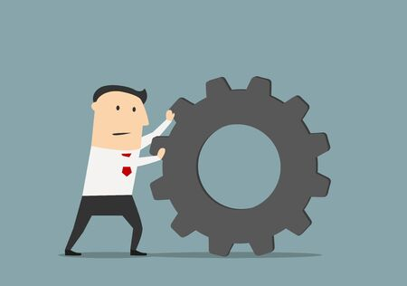 pushes: Tired businessman pushes a huge gear, for business process or management concept design. Cartoon flat style
