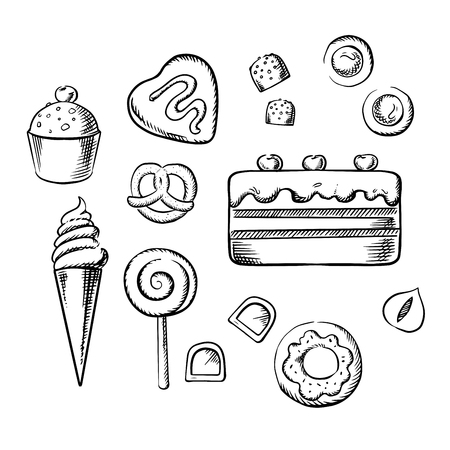 sweet pastry: Sweet cake and cupcake with cream, ice cream cone, glazed doughnut, chocolate candies with hazelnuts and fondant, cookies, lollipop and pretzel. Sketch icons for pastry and confectionery design