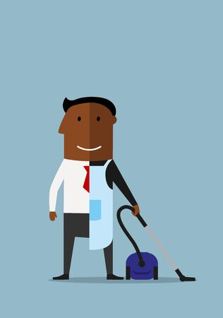 two and a half: African american man divided into two parts, one half of businessman in suit and another half as ordinary man in apron with vacuum cleaner, for balance concept design. Cartoon style Illustration