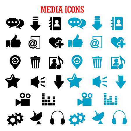 home video: Social media icons with chat speech bubbles, mail, load arrows, thumb up, map pin, home page, favorite star and heart, video, contacts, playlist, equalizer, trash, gears, headphones, antenna, speaker