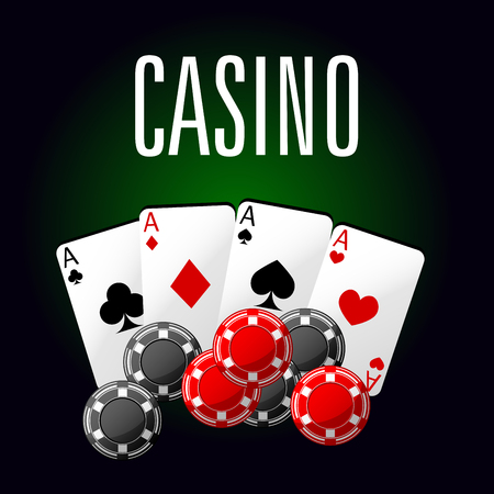 gambling game: Casino club luxury symbol of four aces poker with red and black gambling chips, for game industry or gambling theme