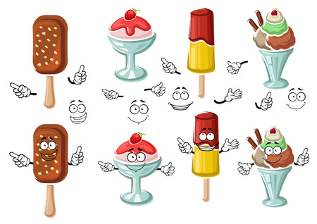 Delicious cartoon ice cream with chocolate and nuts, fruity popsicle and sundae desserts in bowls with berry sauce and fresh strawberry characters, for dessert menu design