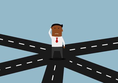 persona confundida: Empresario afroamericano pensativa que se coloca en encrucijada y pensando en direcci�n de su estrategia de negocio. Personaje de dibujos animados plana Vectores