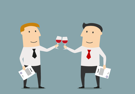 Cheerful smiling cartoon businessmen celebrating the signing of successful contract. With red wine in hands, for business or celebration theme concept design Vectores