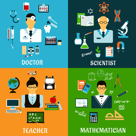 doctor exam: Medicine, education and science professions flat icons of doctor with drugs, teacher and mathematician with school supplies, scientist with laboratory equipment