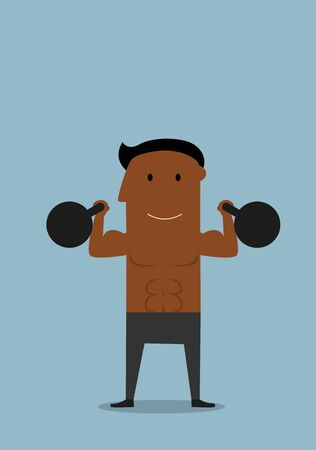 american sport: Cartoon smiling healthy african american sportsman with kettlebells in both hands, for sport training or healthy lifestyle concept Illustration
