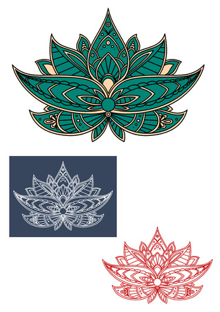 adorned: Green indian lotus flower with pointed petals, adorned by traditional paisley elements, for textile or lace embellishment design Illustration