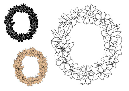 Floral font uppercase letter O, decorated by vintage flowers with lush petals, for romantic monogram design