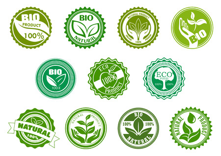 Bio, eco, organic and natural products green labels with tree, leaves, pant, apple, hands and water drop, framed by round frames. For healthy food and drink theme design