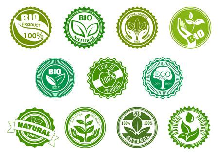 Bio, eco, productos orgánicos y naturales etiquetas verdes con árboles, hojas, pantalón, manzana, las manos y la gota de agua, enmarcados por marcos redondos. Para el diseño de alimentos y bebidas saludables tema