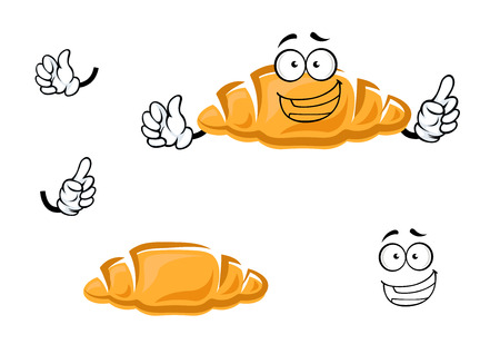crust: Fresh tasty french croissant cartoon character with golden crust and happy smile showing attention gesture, for bakery or pastry design Illustration