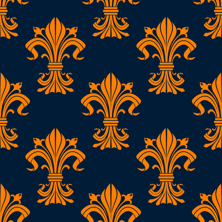 fabric texture: Vintage orange fleur-de-lis seamless floral pattern with stylized compositions of lily flowers and curly leaves on blue background. For interior or textile design