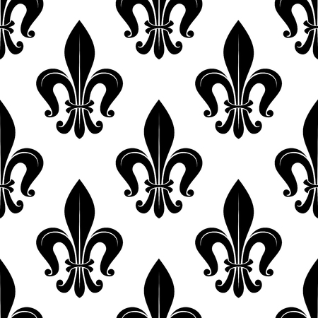 victorian wallpaper: Black and white seamless victorian floral pattern with stylized fleur-de-lis flowers and curled leaves. For textile, wallpaper or heraldry design