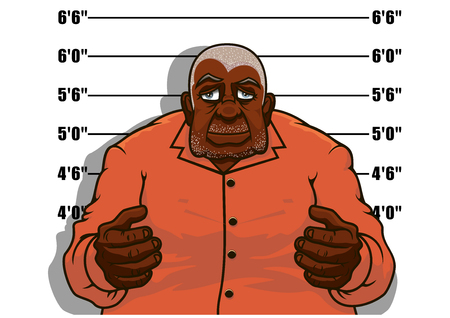 Arrested cartoon african american gangster man posing for police mugshot against height chart, for justice theme