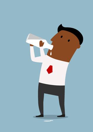 tomando leche: Hombre de negocios saludable beber leche de granja frescos de la botella, personaje de dibujos animados plana